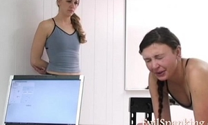 Hot girls spanked by lashing machine
