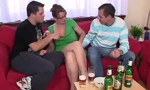 Threesome party fro in one's cups old woman