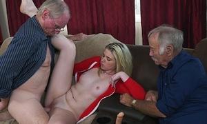 Grandpas Educating Young Girl Skim through Experience (bpm15732)