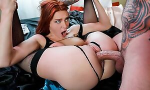 Redhead jail-bait in black stockings on presentation a good enjoyment from session
