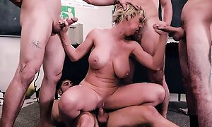 Short-haired omnibus gets gangbanged by four horny students